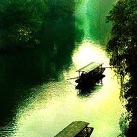 小船流水 绿树白云